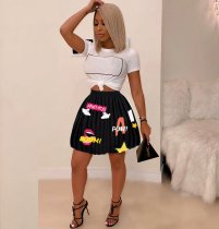 WGW Chiffon Black Printed Pleated Mini Skirt IV8027