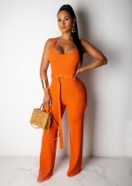 WGW Solid Sleeveless Sashes Slim One Piece Jumpsuit LDS3157