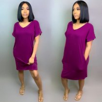 WGW Solid V Neck Short Sleeve Casual Loose Midi Dress MIL015