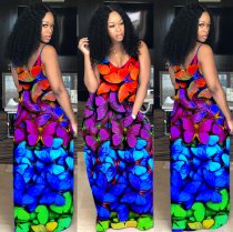 WGW Butterfly Print V Neck Spaghetti Strap Long Maxi Dress YLY2308