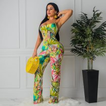 WGW Floral Print Sexy Crisscross Backless Wide Leg Jumpsuits MIL033