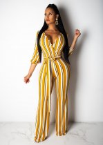 WGW Striped Deep V Three Quarter Sleeve Sashes Long Jumpsuits AIL035