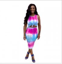 WGW Sexy Gradient Printed Sleeveless Bodycon Midi Dresses YLY2312