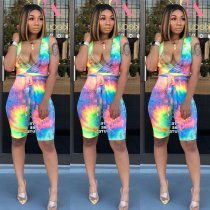 WGW Tie Dye Print Deep V Sleeveless Sashes Half Length Jumpsuit CHY1164