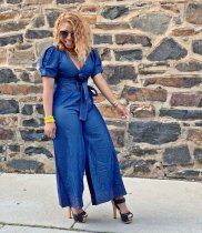 WGW Sexy Denim V Neck Belted Wide Leg Jeans Jumpsuits MOF5096