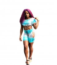 WGW Sexy Tie Dye Print Crop Top Shorts Hollow Out Maching Set YLY2300