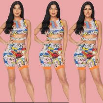 WGW Cartoon Print Sleeveless Top And Shorts Two Piece Sets OJS9116