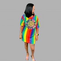 WGW Rainbow Stripe Seuqin Patchwork Casual Loose Mini Dress DM8084