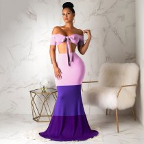 WGW Sexy Tie Up Strapless Crop Top Maxi Skirts Matching Sets SH3609