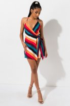 WGW Colored Stripes V Neck Spaghetti Strap Mini Dress YLY2313