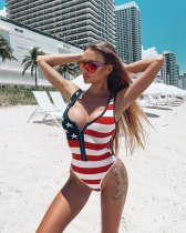 WGW Sexy Stripe Print Sleeveless Bikini One Piece Swimsuit ML7222