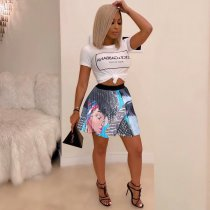 WGW Sexy Printed High Waist Pleated Mini Skirts SFY022