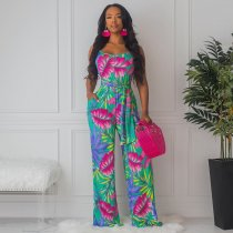WGW Floral Print Sleeveless One Piece Long Jumpsuits LQ5070