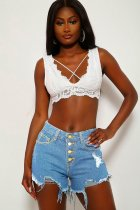 WGW Denim Holes Ripped Tassel Button Up Jeans Shorts MIL027