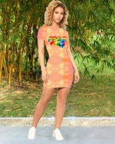 WGW Lips Print Short Sleeve Slim Mini Dresses MEI9026