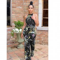WGW Sexy Printed Sleeveless Sashes One Piece Jumpsuits LP6158