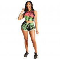 WGW Tie Dye Print Tracksuit Hooded Sleeveless 2 Piece Shorts Set ASL6175