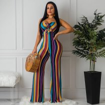 WGW Colored Striped Sexy Strapless Tie Up Jumpsuits WZ8208