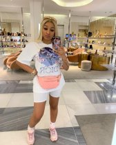 WGW White Printed Tee Shorts Casual Sporty 2 Piece Set ARM8113