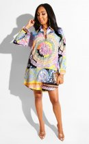 WGW Fashion Printed Turndown Collar Vintage Blouse Shirt CY1856