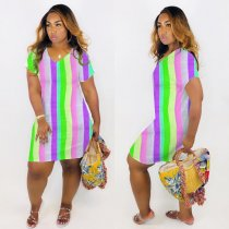 WGW  Plus Size Colored Stripes V Neck Short Sleeve Mini Dress QY5122