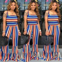 WGW Plus Size Colored Striped Spaghetti Strap Flares Jumpsuit HGL1181