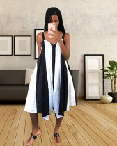 WGW Black And White Striped Spaghetti Strap Wide Leg Jumpsuit YSF290