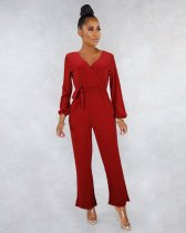 WGW Solid Color V Neck Long Sleeve Sashes Jumpsuits MEI9031