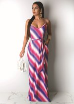 WGW Sexy Striped Spaghetti Strap Sashes Long Maxi Dresses DAI8163