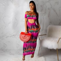 WGW Sexy Printed Tube Top Spaghetti Strap 2 Piece Bodycon Maxi Dress ML7225
