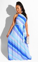 WGW Sexy Striped Sleeveless Sashes Long Maxi Dresses MA218
