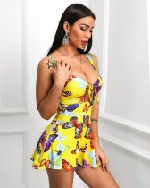 WGW Butterfly Print Tie Up Straps Big Swing Mini Dresses HM6115