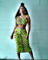 WGW Sexy Strap Crop Tops And Long Skirt 2 Piece Set LDS3117
