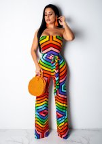 WGW Colorful Geometric Print Strapless Long Jumpsuits YD8087