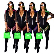 WGW Sexy Mesh Patchwork Zipper Skinny Jumpsuits SMR9265