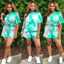 WGW Tie Dye Print Casual Short Sleeve Two Piece Shorts Sets MTY6179