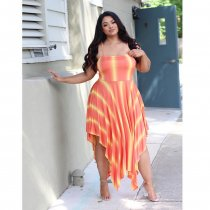 WGW Plus Size Striped Spaghetti Strap Irregular Midi Dresses ME5042