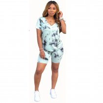 WGW Tie Dye Print V Neck Short Sleeve Two Piece Shorts Suits SHA6085