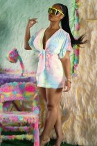 WGW Tie Dye Print Sexy Deep V Neck Short Sleeve Mini Dresses FNN8275