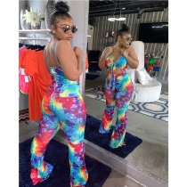 WGW Sexy Printed Spaghetti Strap V Neck Tie Up Jumpsuits TEN3353