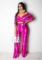 WGW Sexy Striped V Neck Off Shoulder Wide Leg Pants Suit BS1075
