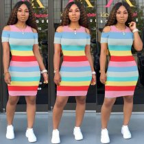 WGW Casual Striped Cold Shoulder Short Sleeve Mini Dresses MA221