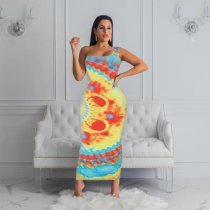 WGW Sexy Printed Oblique Shoulder Sleeveless Long Dresses FST7030