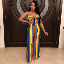 WGW Colored Striped Strapless Crop Top Wide Leg Pants Suit BY3213