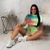 WGW Tie Dye Print O Neck Crop Top And Shorts 2 Piece Suit IV8034
