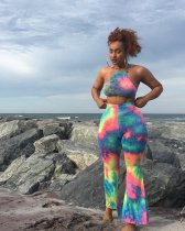 WGW Sexy Tie Dye Print Halter Crop Top And Long Pants Sets AWN5009