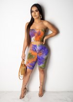 WGW Sexy Printed Strapless Crop Top And Shorts 2 Piece Set ML7211