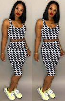 WGW Houndstooth Print Strappy Crop Top Shorts 2 Piece Sets LM8067