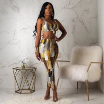 WGW Sexy Printed Tank Tops And Bodycon Midi Skirt 2 Piece Set CHY1162