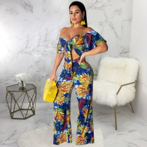WGW Floral Print Tie Up Crop Top And Pants 2 Piece Suits SMR9315